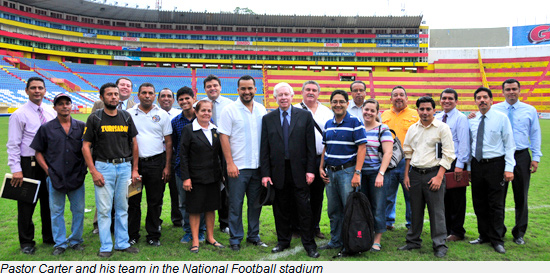 Pastor Carter and his team in the National Football stadium