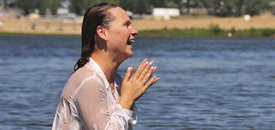 Woman Baptised in Volga River